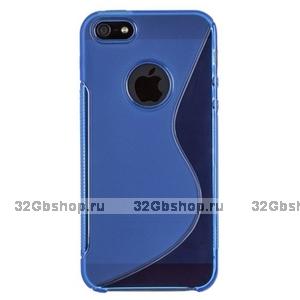 Силиконовый чехол-накладка для iPhone 5 / 5s / SE жесткий синий