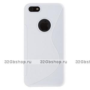 Силиконовый чехол-накладка для iPhone 5 / 5s / SE жесткий белый