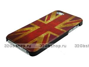 Задняя накладка для iPhone 5 / 5s / SE флаг Великобритании ретро