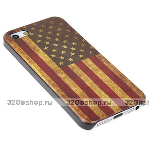 Задняя накладка для iPhone 5 / 5s / SE флаг США ретро