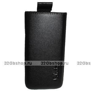 Кожаный чехол Valenta для iPhone 5 / 5s / SE с внутренним языком чёрный