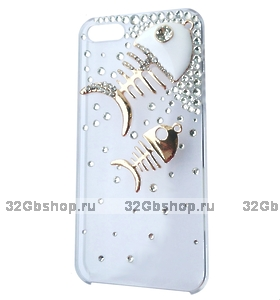 Чехол со стразами Crystal Diamond Fish Case для iPhone 5 / 5s / SE - прозрачный