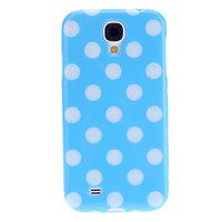 Силиконовый чехол для Samsung Galaxy S4 голубой с белыми точками - Polka Dots LightBlue&White