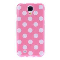 Силиконовый чехол для Samsung Galaxy S4 розовый с белыми точками - Polka Dots Pink&White