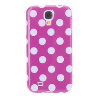 Силиконовый чехол для Samsung Galaxy S4 розовый с белыми точками - Polka Dots Hot Pink&White
