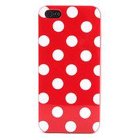Силиконовый чехол для iPhone 5 / 5s / SE красный в белый горошек