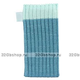 Голубой вязаный чехол носок для iPhone 5 / 5s / SE - Knit Stitch Pouch Bag Blue