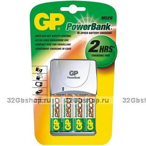 Зарядное устройство GP PowerBank + 4 аккумулятора АА 2100mAh (PB350GS210-UE4)
