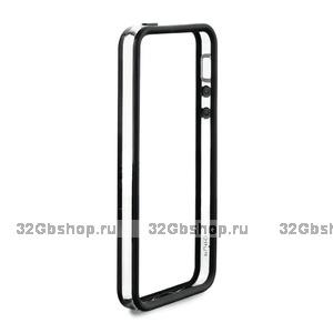 Бампер для iPhone 5 / 5s / SE черный с прозрачной вставкой
