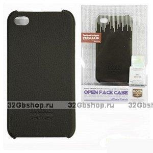 Задняя накладка HOCO для iPhone 4/4S кожа чёрная