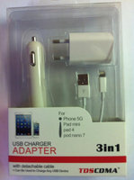 Комплект ЗУ 3 в 1 для iPhone 5/iPad mini блок авто сеть + USB 1000mAh