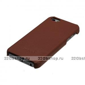 Кожаная накладка HOCO Duke для iPhone 5 / 5s / SE коричневая