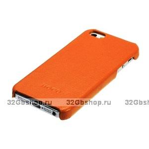 Кожаная накладка HOCO Duke для iPhone 5 / 5s / SE оранжевая