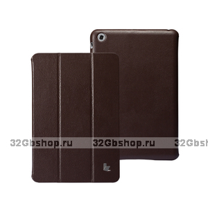 Кожаный чехол Jisoncase Classic Smart Cover Brown для iPad mini - коричневый