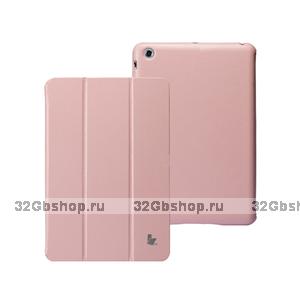 Кожаный чехол Jisoncase Classic Smart Cover Pink для iPad mini - розовый