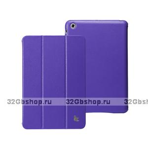 Кожаный чехол Jisoncase Classic Smart Cover Purple для iPad mini - фиолетовый