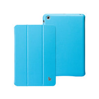 Кожаный чехол Jisoncase Classic Smart Cover Sky Blue для iPad mini - голубой
