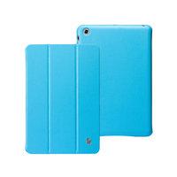 Кожаный чехол Jisoncase Classic Smart Cover Sky Blue для iPad mini - голубой