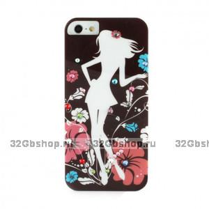 Накладка Fashion Lady Illustration Case для iPhone 5 / 5s / SE коричневая со стразами