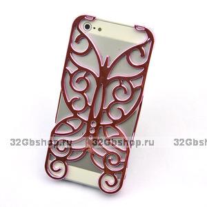 Накладка Chrome Butterfly Case Pink для iPhone 5 / 5s / SE розовая бабочка