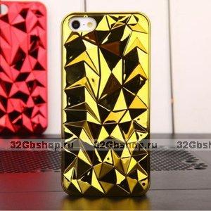 Накладка Chrome Diamond 3D Case Gold для iPhone 5 / 5s / SE золотой бриллиант