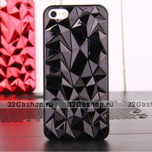 Накладка Chrome Diamond 3D Case Black для iPhone 5 / 5s / SE черный бриллиант