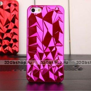 Накладка Chrome Diamond 3D Case Pink для iPhone 5 / 5s / SE розовый бриллиант