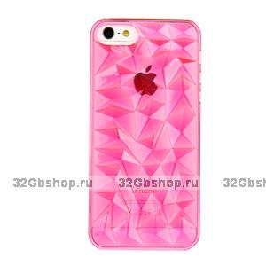 Накладка Clear Diamond 3D Case Rose для iPhone 5 / 5s / SE розовый прозрачный бриллиант