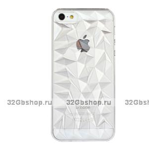 Накладка Clear Diamond 3D Case Silver для iPhone 5 / 5s / SE серебряный бриллиант