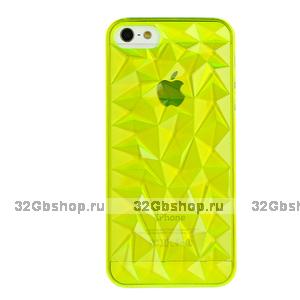 Накладка Clear Diamond 3D Case Yellow для iPhone 5 / 5s / SE желтый прозрачный бриллиант
