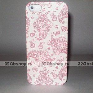 Накладка Floral Pattern для iPhone 5 / 5s / SE белая с розовым узором