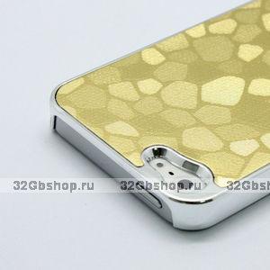 Накладка Gold Stone Pattern Case чехол для iPhone 5 / 5s / SE золотой