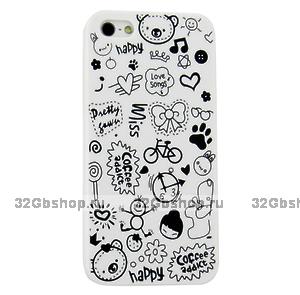 Накладка Happy Cartoon Pattern Case для iPhone 5 / 5s / SE - белый