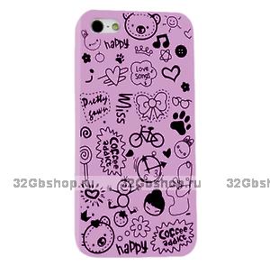 Накладка Happy Cartoon Pattern Case для iPhone 5 / 5s / SE - фиолетовый