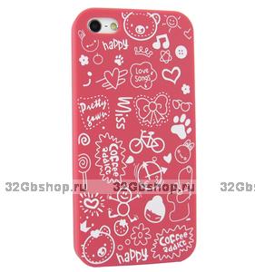 Накладка Happy Cartoon Pattern Case для iPhone 5 / 5s / SE - ярко розовый