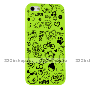 Накладка Happy Cartoon Pattern Case для iPhone 5 / 5s / SE - зеленый
