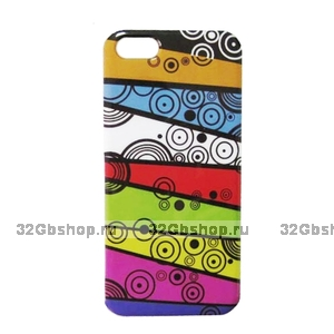 Накладка Line&Round Pattern Case для iPhone 5 / 5s / SE - полоски и круги