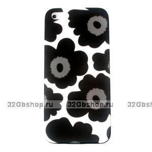 Накладка Poppy flowers для iPhone 5 / 5s / SE черные маки