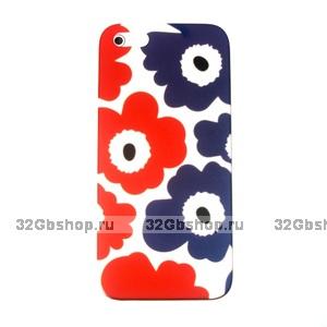 Накладка Poppy flowers для iPhone 5 / 5s / SE красные и синие маки