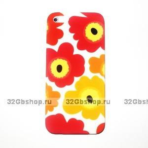 Накладка Poppy flowers для iPhone 5 / 5s / SE красные и желтые маки