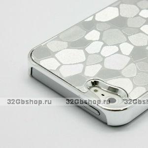 Накладка Silver Stone Pattern Case чехол для iPhone 5 / 5s / SE серебряный