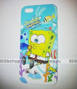 Накладка SpongeBob для iPhone 5 / 5s / SE Губка Боб голубой