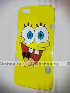 Накладка SpongeBob для iPhone 5 / 5s / SE Губка Боб желтый