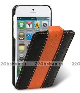Чехол Melkco для iPhone 5 / 5s / SE - Jacka Type (Black/Orange)
