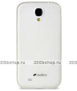 Силиконовый чехол для Samsung Galaxy S4 - Melkco Poly Jacket Case Transparent Mat - белый прозрачный