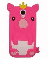 Силиконовый чехол для Samsung Galaxy S4 ярко-розовый поросенок - Pig Silicone Case Rose
