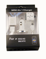Комплект зарядных устройств для iPhone 3G/4 3 в 1 (АЗУ+СЗУ+USB)
