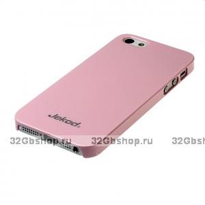 Пластиковая накладка Jekod для iPhone 5 / 5s / SE глянцевая розовая