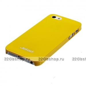 Пластиковая накладка Jekod для iPhone 5 / 5s / SE глянцевая желтая