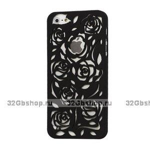 Пластиковая накладка Rose Flower Plastic Case Black для iPhone 5 / 5s / SE черные розы